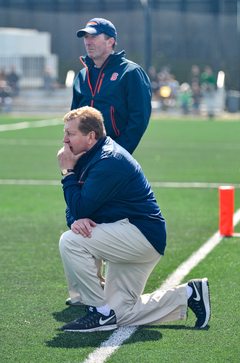 John Desko looks on as his team managed to pull away and beat the No. 1 Irish.