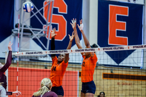 Leah Levert (12) tallied four blocks and 10 kills for Syracuse. Despite her play, the Orange dropped its matchup with Miami, 3-1.