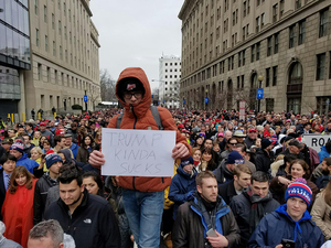 Elliot Carlson, a sophomore at the State University of New York College of Environmental Science and Forestry, protested President Donald Trump at the National Mall on Friday following his inauguration.