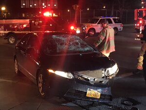 A car hit a bicyclist at the intersection of Comstock and Euclid Avenue Monday night.