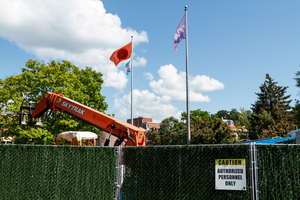 Construction equipment can be seen near Hendricks Chapel, where crews work to replace the building's front steps.